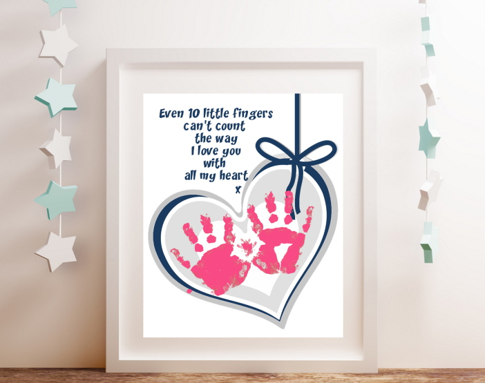 Handprint art heart