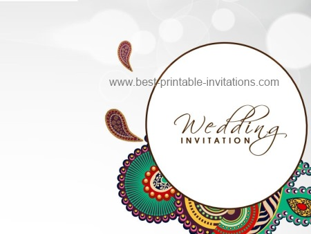 Indian Wedding Invitations - Free printable card template