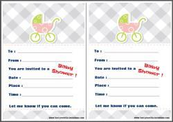 Invitations for Baby Shower - pastel pram design