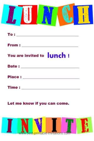 Invitations to Lunch - Free Printable Invitations