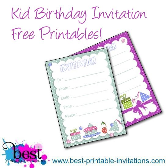 Free Printable Kid Birthday Party Invitation