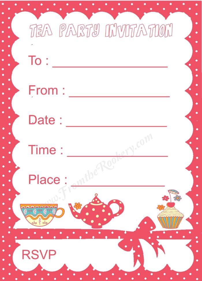 Polka Dot Kids Tea Party Invitation