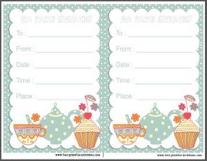 Free printable invite - Kids Tea Party