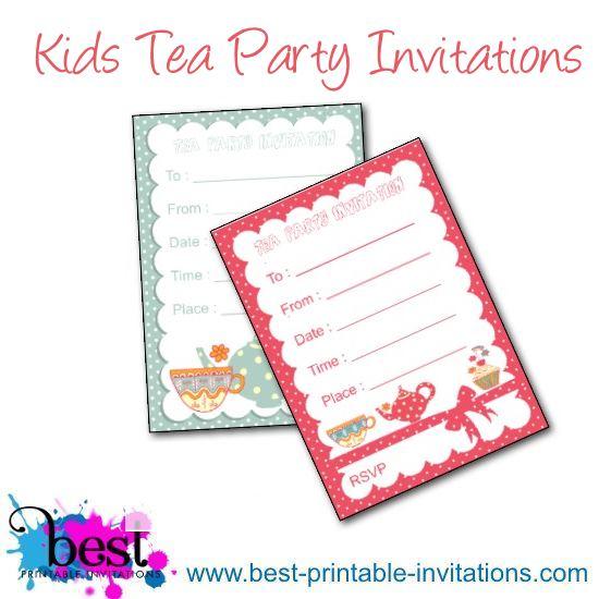 Kids Tea Party Invites - Free Printable Invitations
