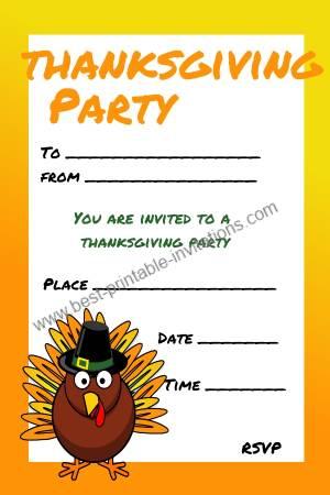 Kids Thanksgiving Party Invitation