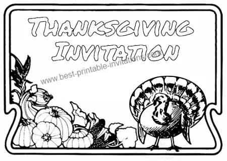 Thanksgiving Invitation Card for Kids