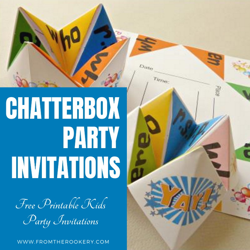 Free Printable Cootie Catcher Origami Invitations