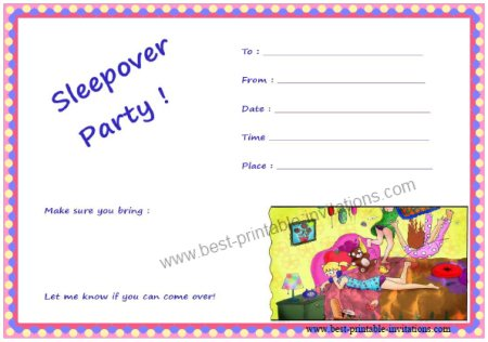 Free Printable Sleepover Invitation Templates Business Card