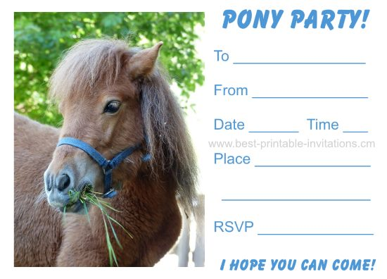 Pony Party Invitations - Free Printable