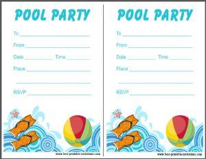 Pool Party Invitation - free printable invites