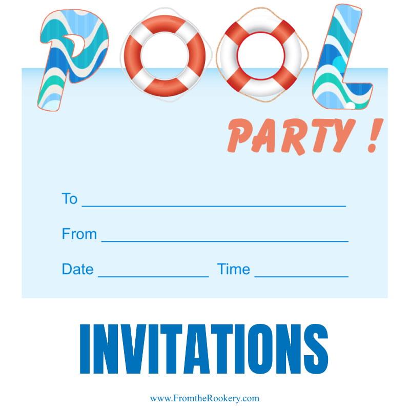 Free Printable Pool Party Invites - Kids Invitations