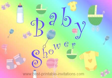 Printable baby shower invitation - free diaper and pin design