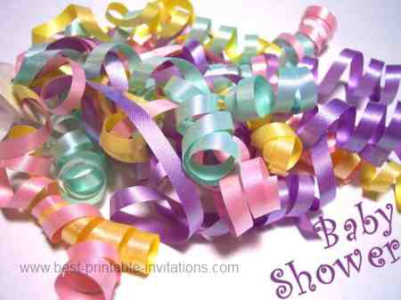 printable baby shower invitations - multi colored ribbons