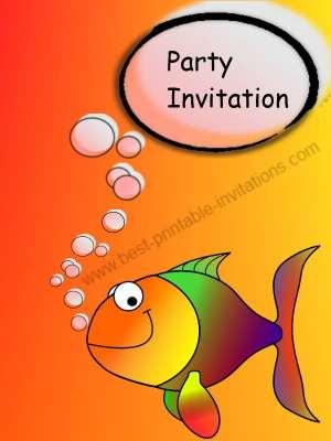 Free printable birthday party invitations - Birthday Fish