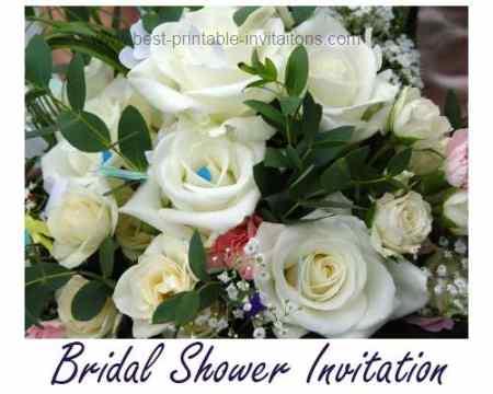 Free printable bridal shower invitations - white roses
