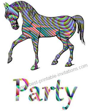 Free printable horse birthday invitations - patterned horse