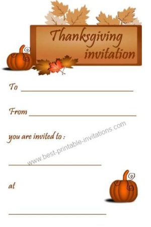 photo about Printable Thanksgiving Invitations known as Printable Thanksgiving Invites