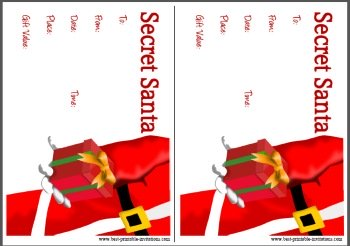 2 Per Page Secret Santa Invites