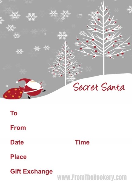 Father Christmas Secret Santa Party Invitations