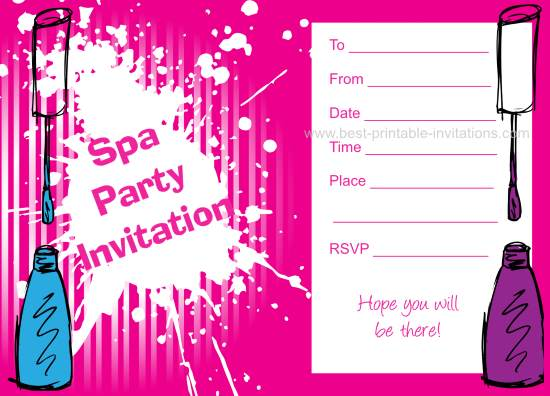 Spa Birthday Party Invitations - Printable Invites