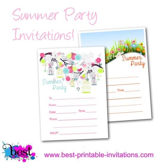 Summer Party Invitation - Free printable invites