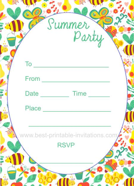 Summer Party Invitations - Free printable invites
