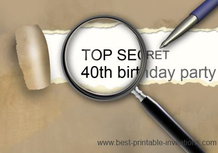 Surprise 40th birthday invitations - free printable