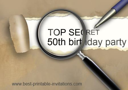 Top Secret Surprise 50th Birthday Invitations - Free and Printable