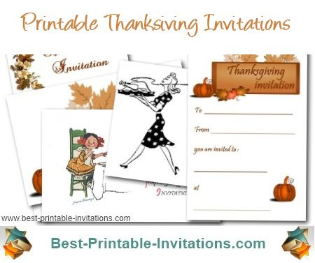 Thanksgiving invitations - Free printable mixed designs