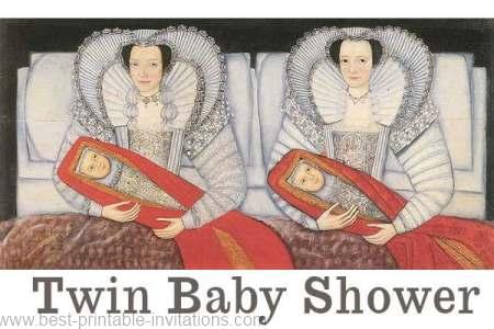 Twin baby shower invitation - free printable Elizabethan design