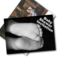 unique baby shower invitations - baby feet and painting