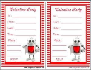 Robot Valentine Party Invites - Free printable