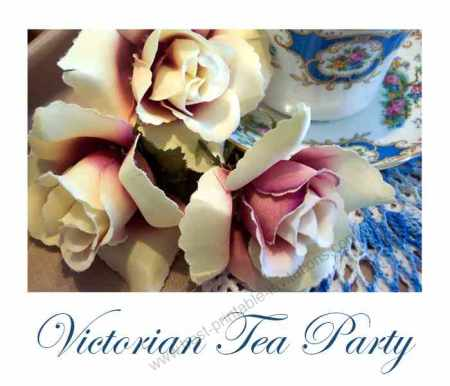 Free printable Victorian tea party invitations - flowers and teacup design